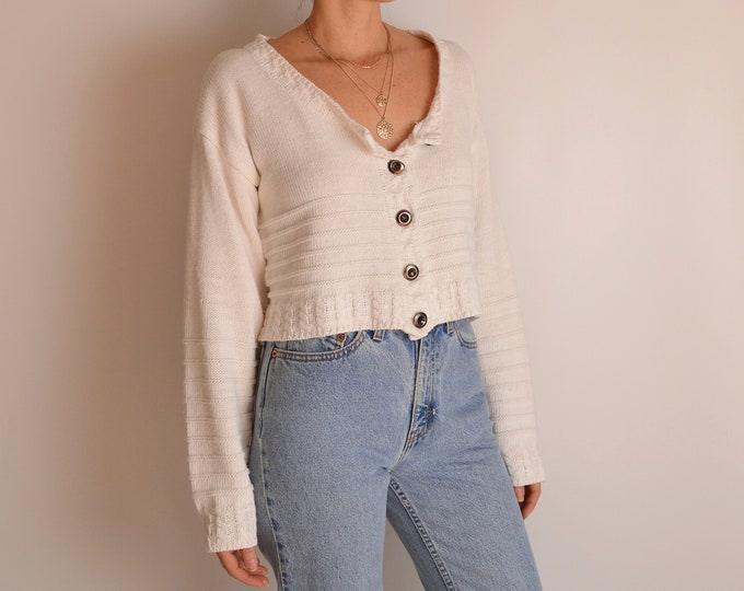 Vintage Thick Knit Crop Sweater (S-M)