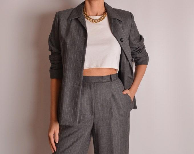 Vintage Gray Pinstripe Pantsuit (S)