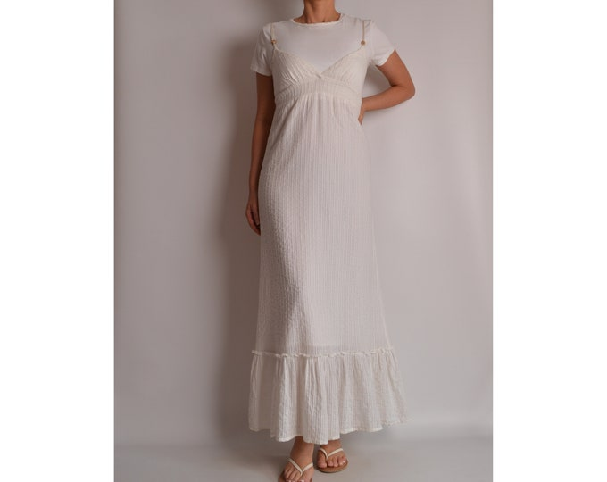Vintage White Cotton Maxi Dress (S-M)