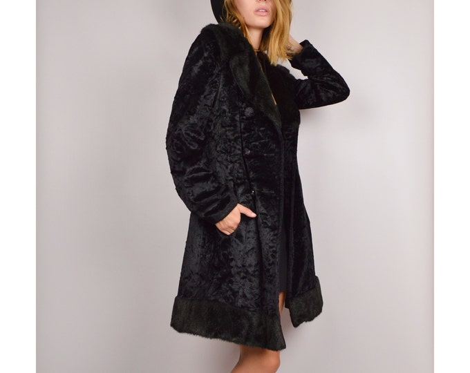 50's Velvet + Faux Fur Winter Coat Black Vintage