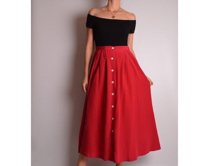 "Vintage Red Silk Circle Skirt (28.5""W)"