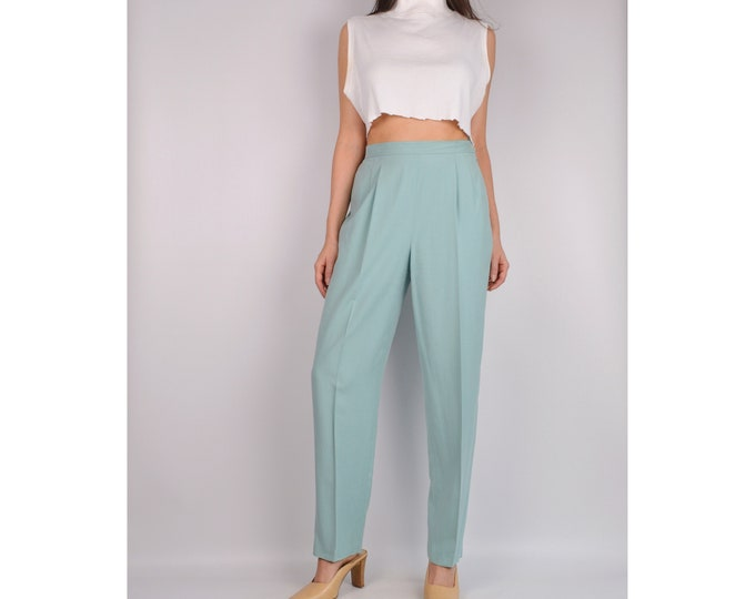 Vintage Aquamarine SILK Trousers (S-M)