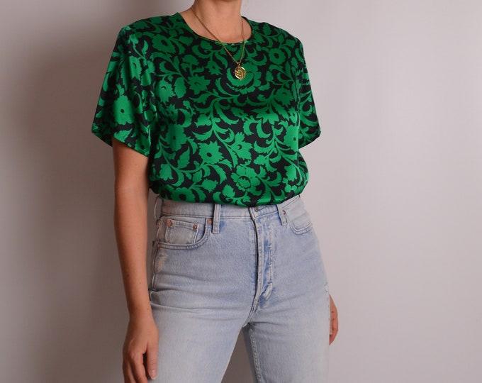 Vintage Emerald Printed Silk Tee (S-L)