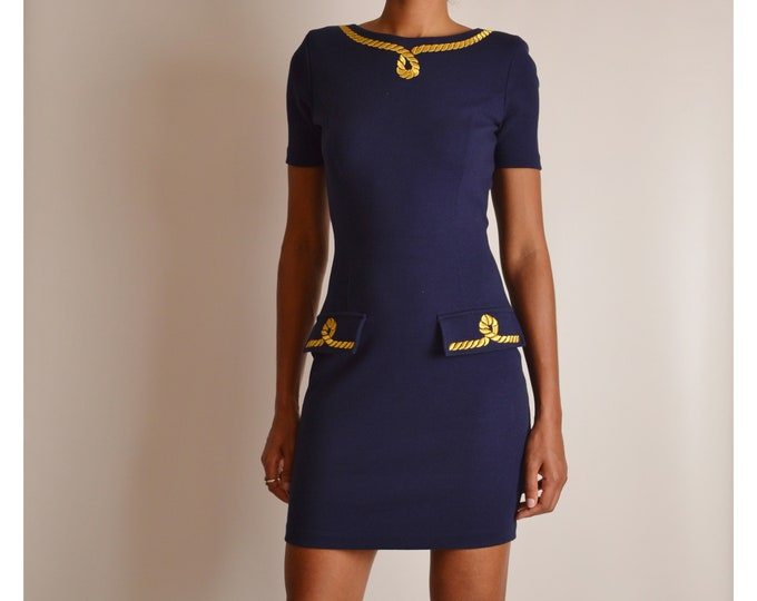 Vintage Nautical Bodycon Dress (S)