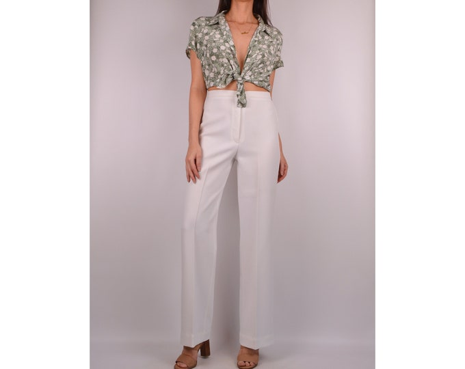 "70's High Waist White Trousers (27""W)"