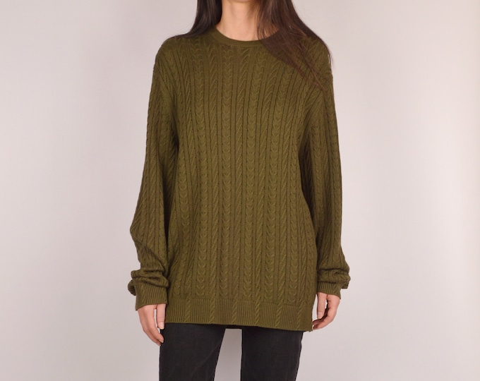 Soft Olive Cableknit Sweater / S-L