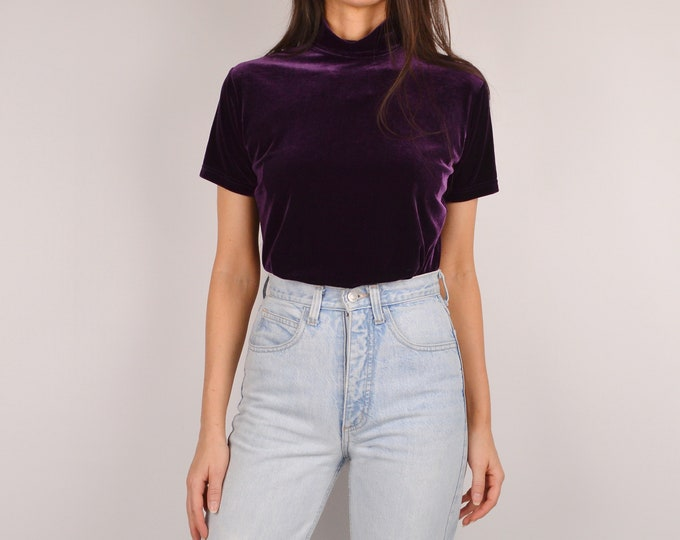 90's Eggplant Velvet Mock Neck Top (S)