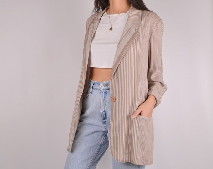 Long Lightweight Neutral Blazer