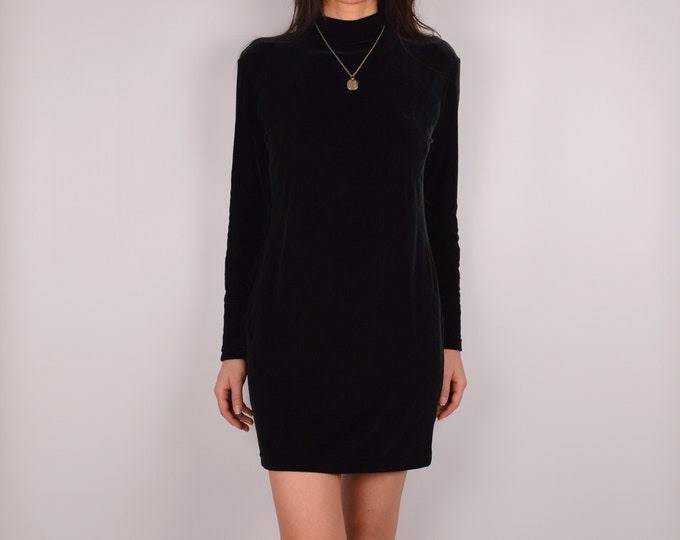 Vintage Black Velvet Mock Neck Mini (S-M)