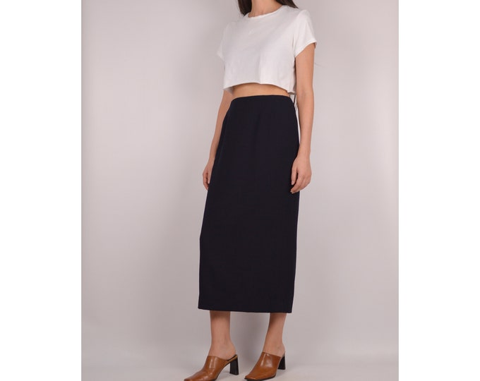 Vintage Black Wool Pencil Skirt / S