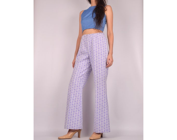 70's Printed High Waist Flare Pant / M