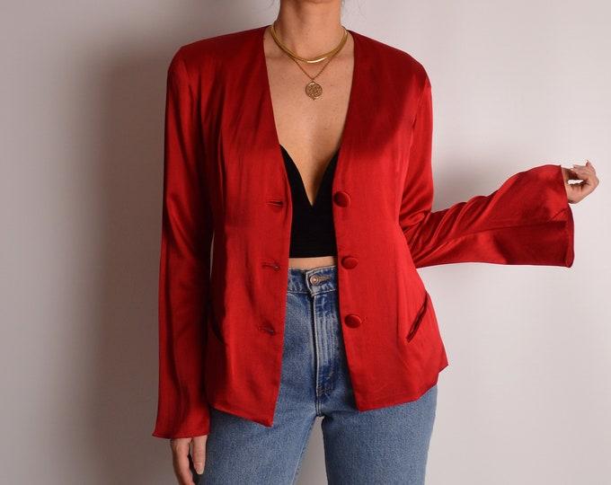 Stunning Vintage Red SILK Blazer (S-M)