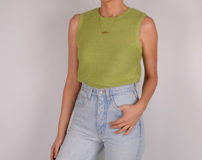 Vintage Kiwi Cotton Sleeveless Knit Top (S)