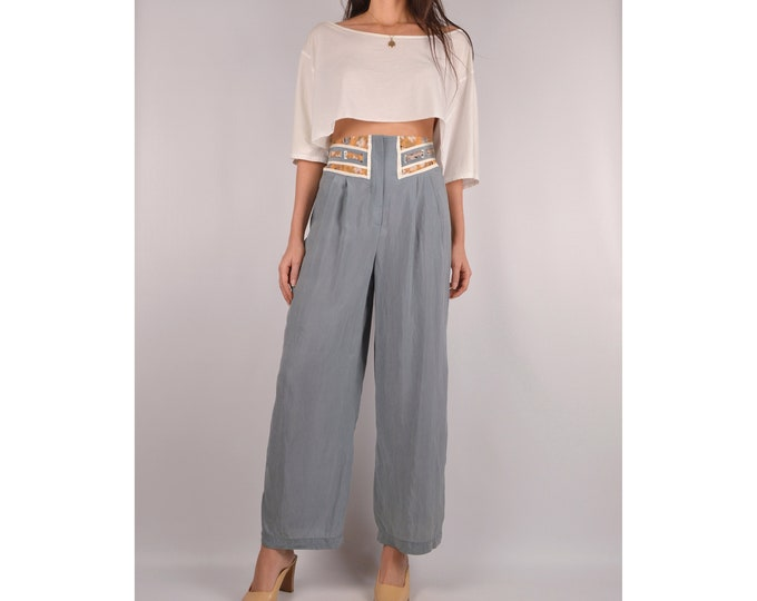 Vintage Gray Silky Crop Trousers / S