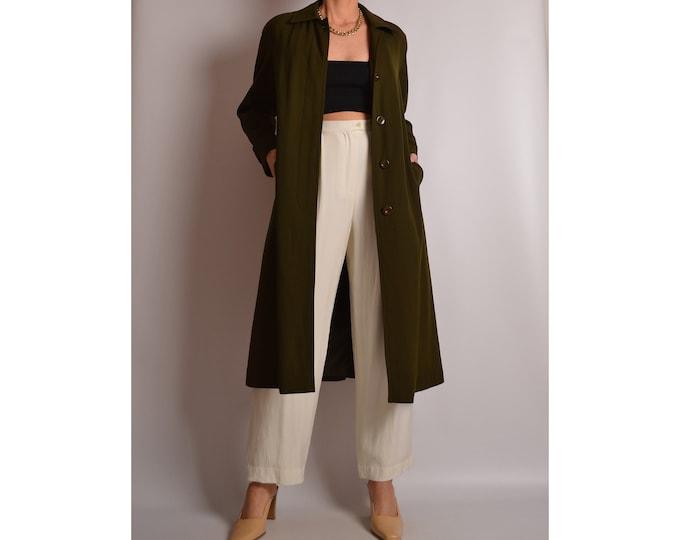 Vintage Olive Wool Coat (S-M)