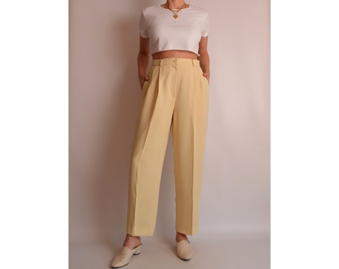 "Vintage Pastel Yellow Trousers (30""W)"
