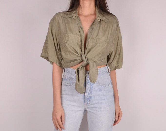 Sage Silk Button Down Shirt (S-L)