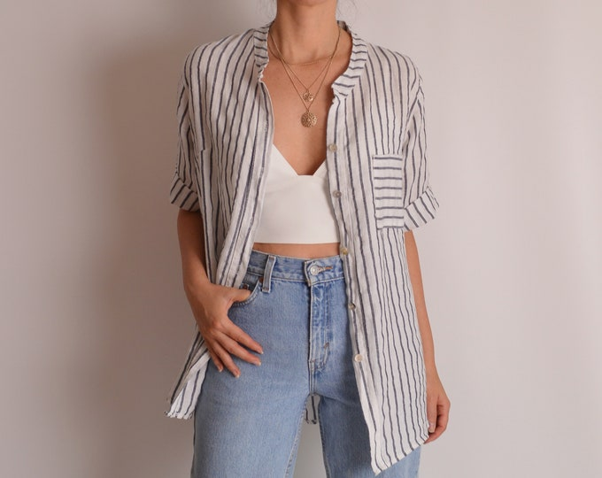 Vintage Striped Linen Shirt (S-L) minimalist button up