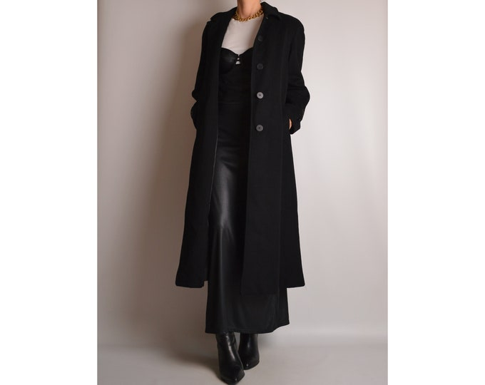 Vintage Black Wool Long Coat (S-M)