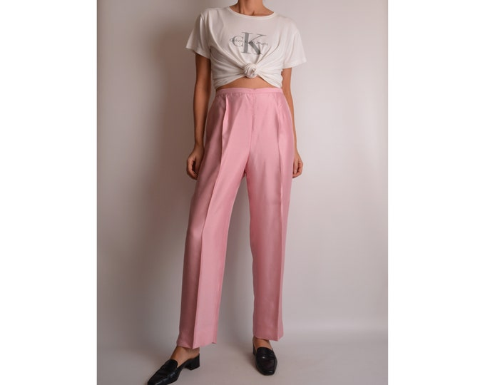 "Vintage Blush Silk Trousers High Waist (28""-29""W)"
