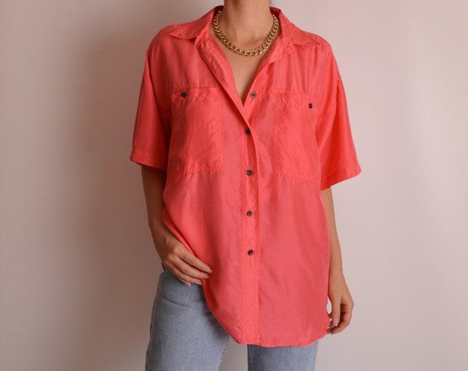 Vintage Coral Silk Blouse (S-L)