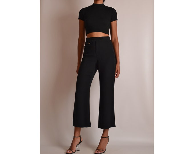 "Vintage Black Silk Crop Pant (27""W)"