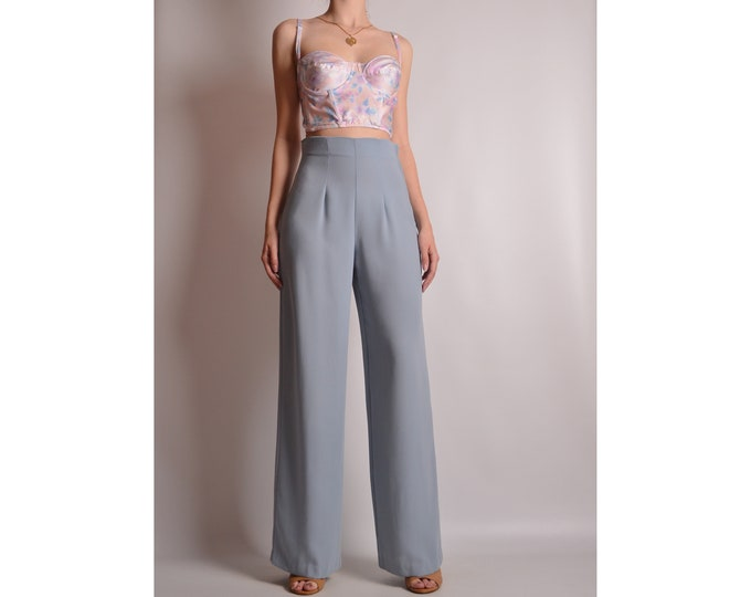 "Vintage Powder Blue Wide Leg Pants (26""W)"