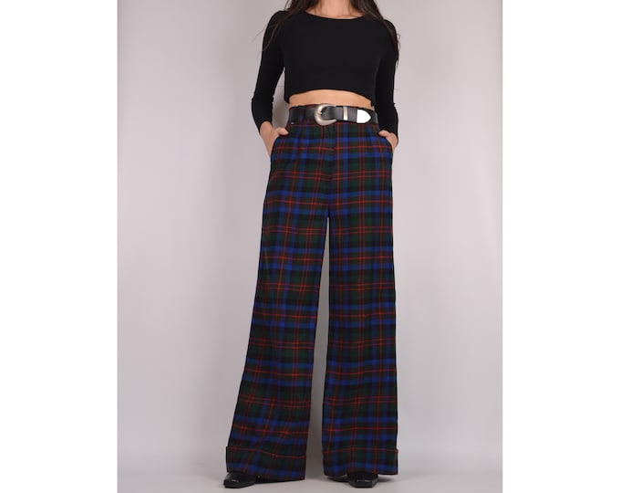 "70's Plaid Wide Leg Trousers / 28""W"