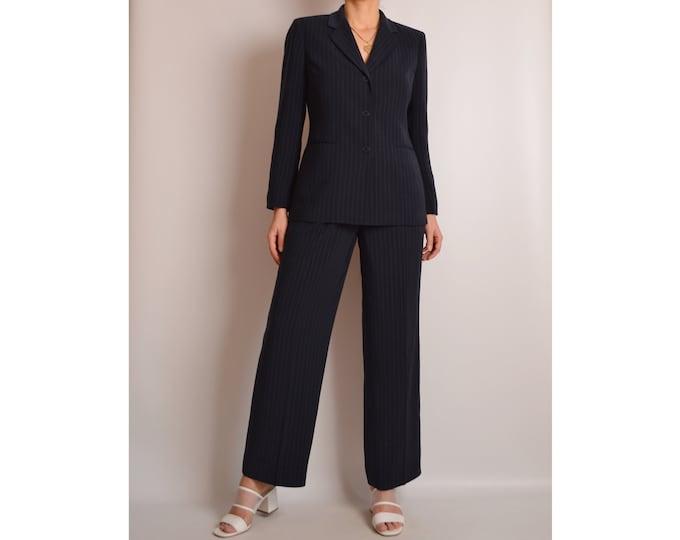 "Vintage Midnight Pinstripe Pantsuit (28""W)"