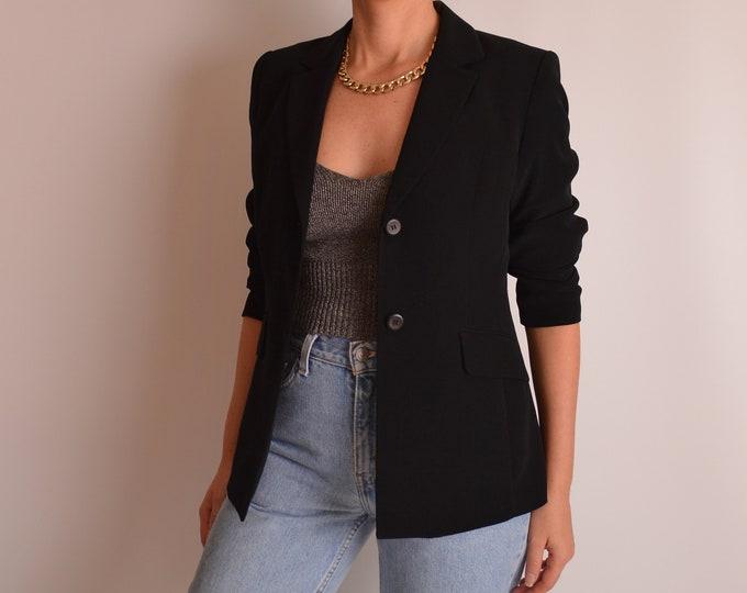 Vintage Minimalist Black Blazer (S)