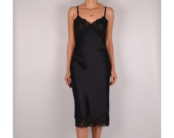 Vintage Black Midi Slip Dress (S-M)