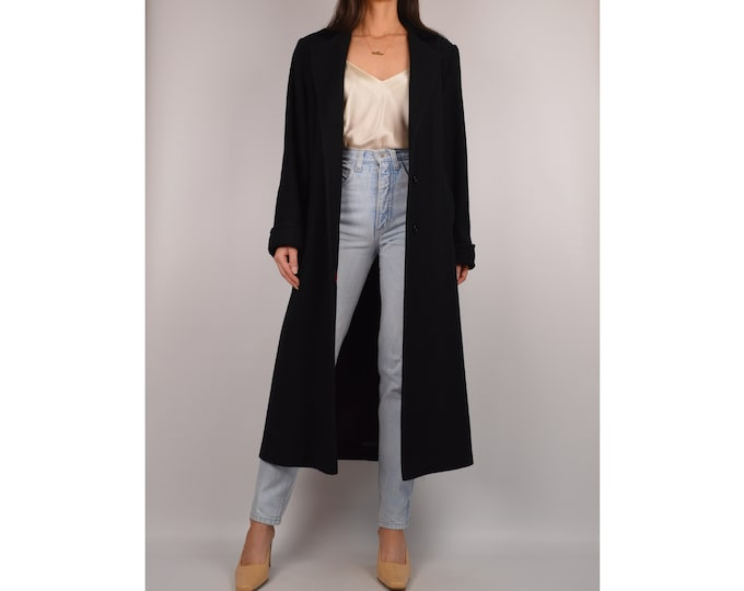 Vintage Black Wool Long Coat (S-L)