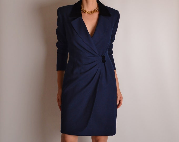 Vintage Midnight Blue Blazer Dress (S)