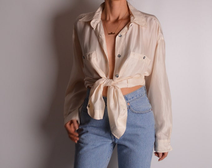 Vintage Cream Silk Button Up Blouse (S-L)