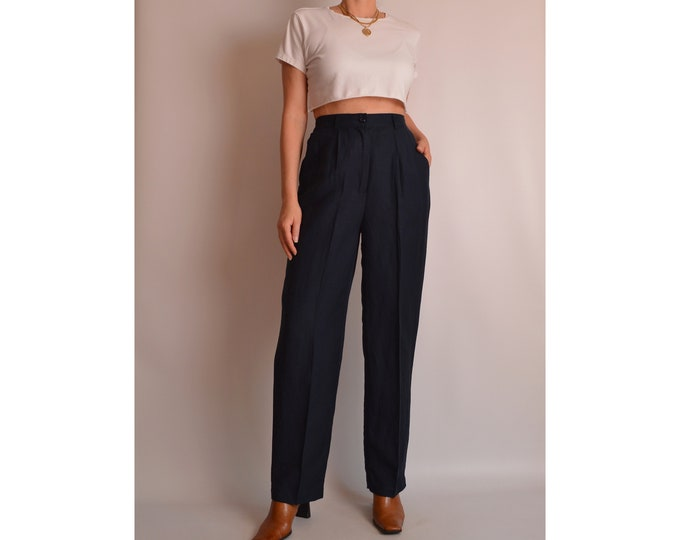 "Vintage Navy Linen Trousers (27-29""W) high waist"