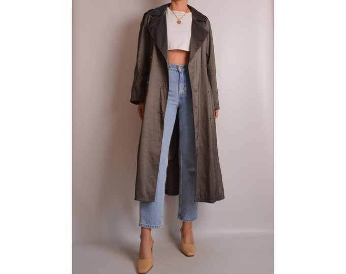 Vintage Pewter Trench Coat (S-L)