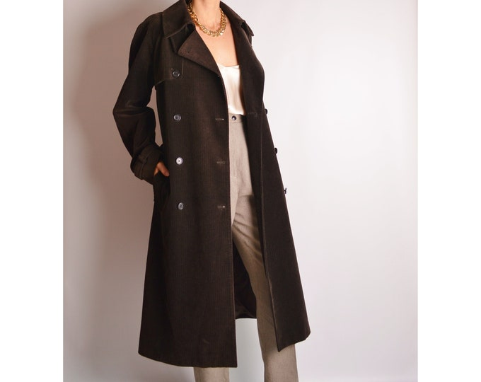 Vintage Chocolate Cord Trench Coat (S-M)