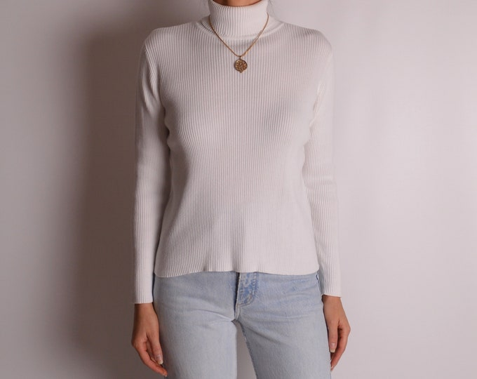 Vintage White Cotton Turtleneck (S-M)