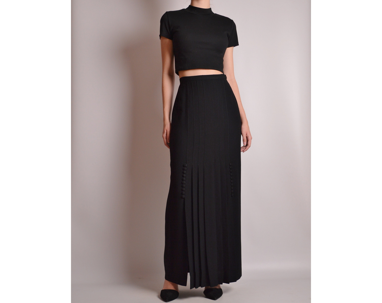 black rayon crepe skirt Vintage Adelaar 60/'s floor length sweeping