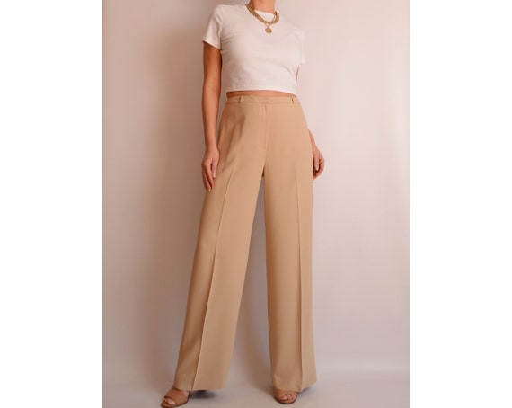 "Perfect Sand Wide Leg Trousers (29.5""W)"