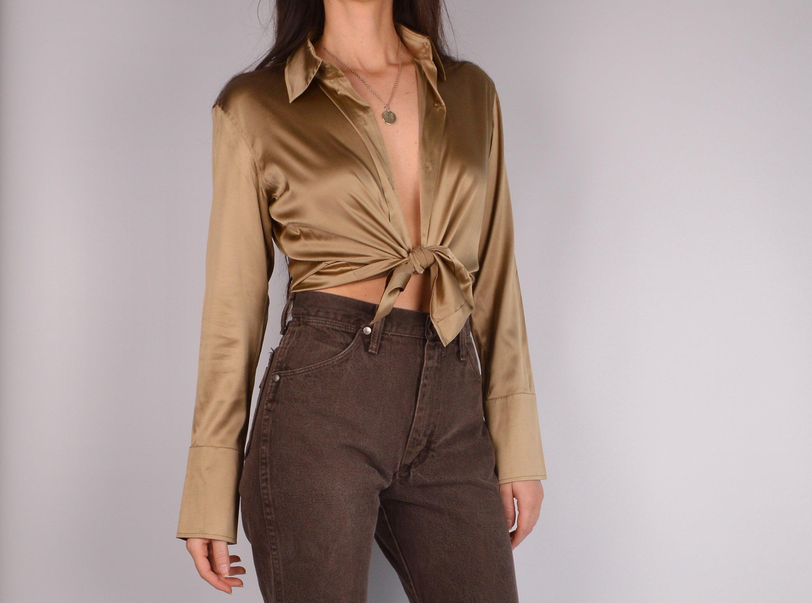 1a51e305d4f10 Bronze silk button up blouse jpg 2798x2079 Silk buttons