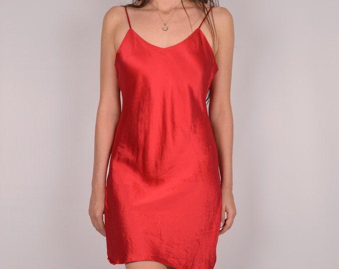 Red SILK Slip Dress w/ Xtra high slits