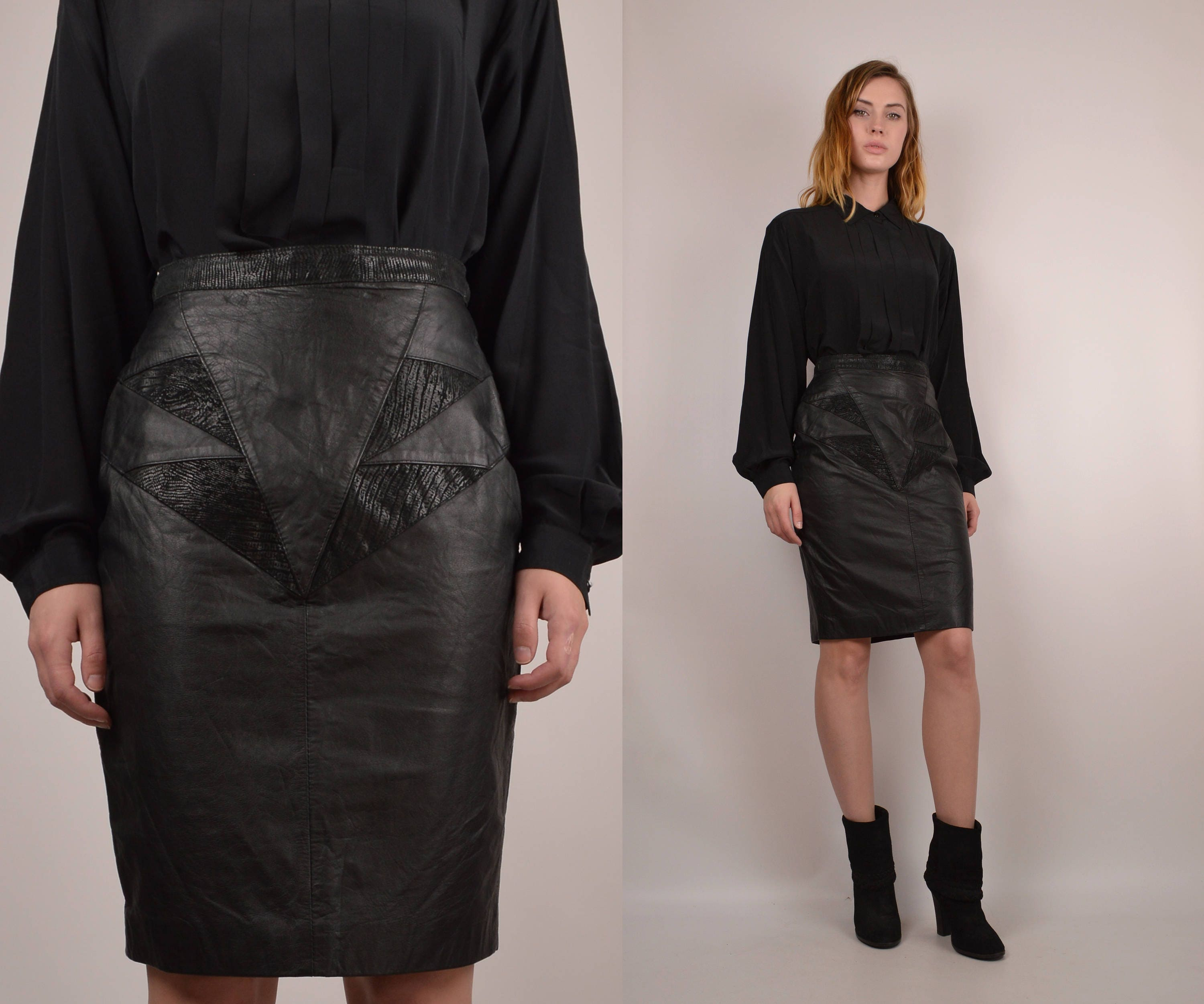 ff3f39a092bb 80's Leather High Waisted Pencil Skirt