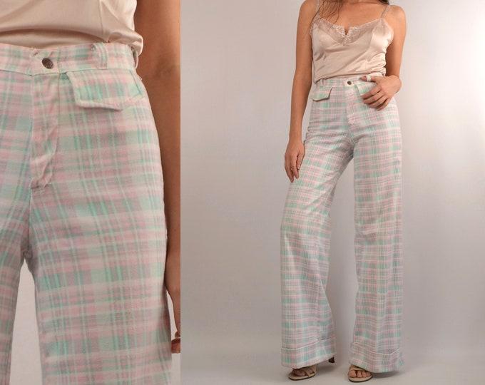 SALE 70's Pastel Plaid Wide Leg Flare Trousers