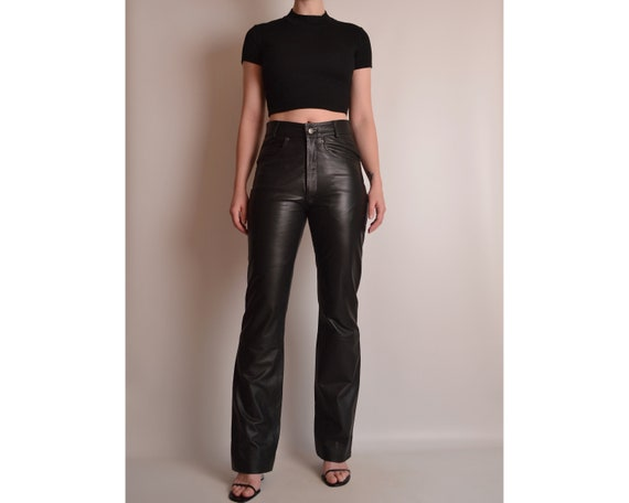 "Vintage Black Leather Pants (27""W) - image 1"