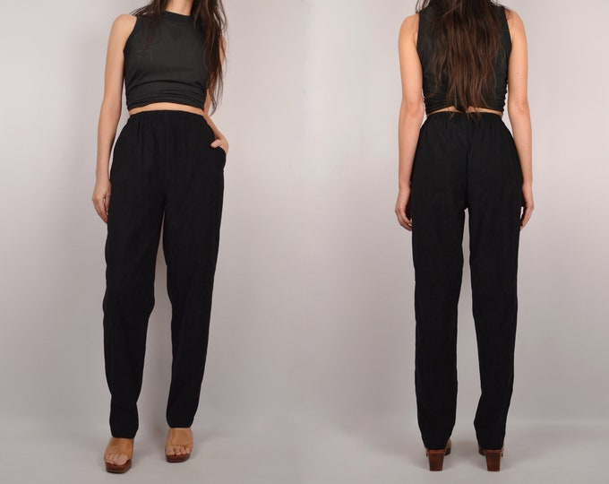 Vintage Black Tapered Easy Pants / small
