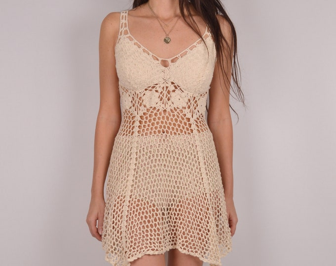 70's Crochet Mini Dress / Boho Festival Hippie