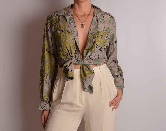 Vintage SILK Abstract Print Blouse (S-M)