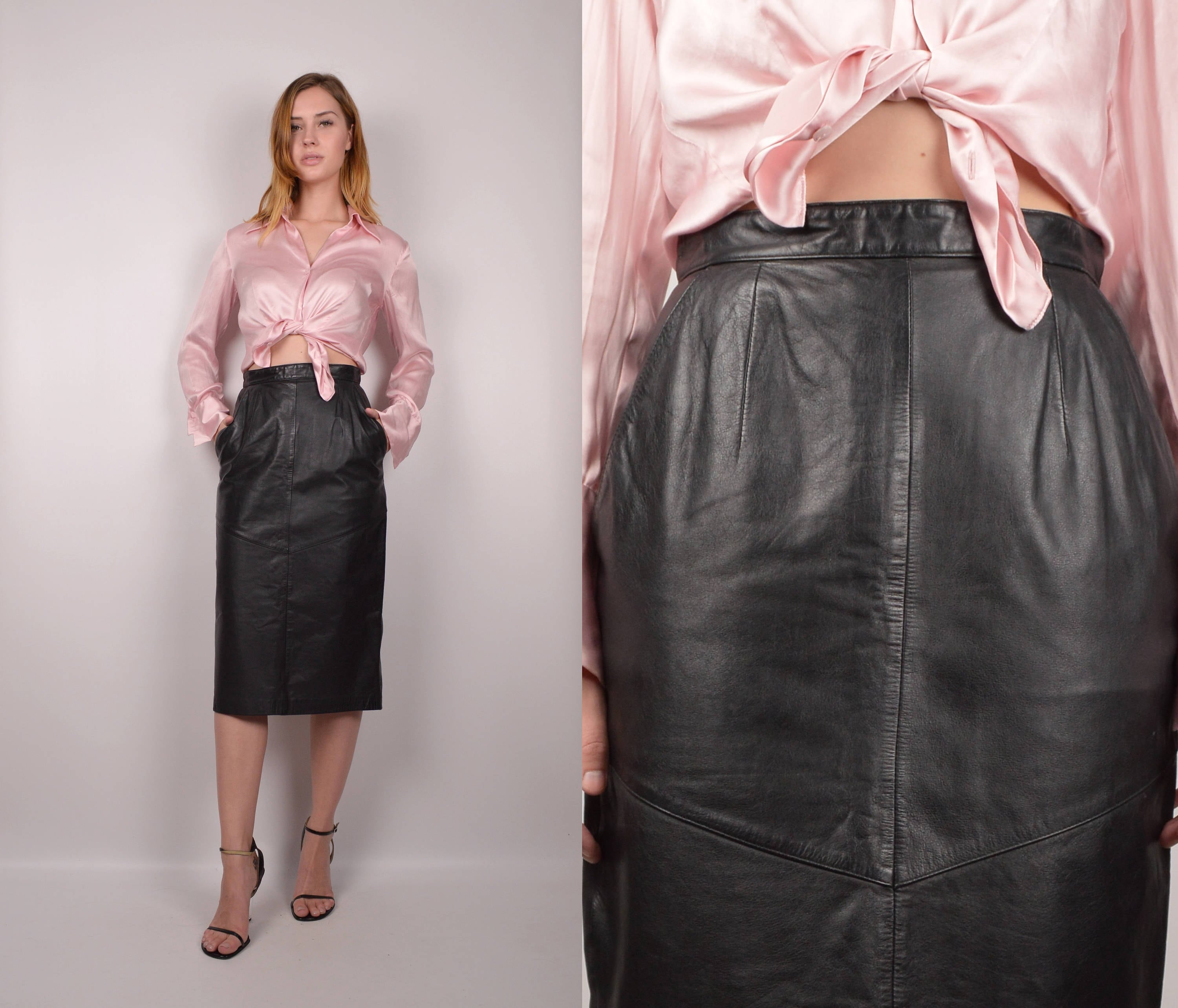 bb59a71b1d76 80's Leather High Waist Pencil Skirt / minimalist vintage