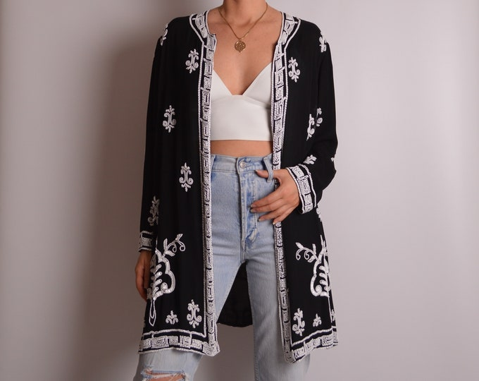Black and White Silk Duster (S-XL)